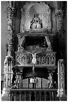 Altar inside a church. Naples, Campania, Italy ( black and white)