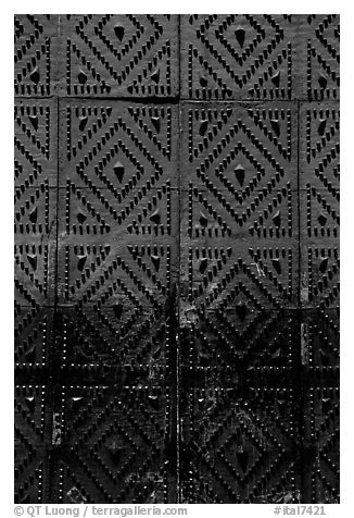 Detail of the door of church Gesu Nuovo. Naples, Campania, Italy (black and white)