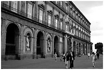 Facade of Palazzo Reale (Royal Palace). Naples, Campania, Italy (black and white)