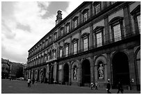 Royal Palace. Naples, Campania, Italy (black and white)