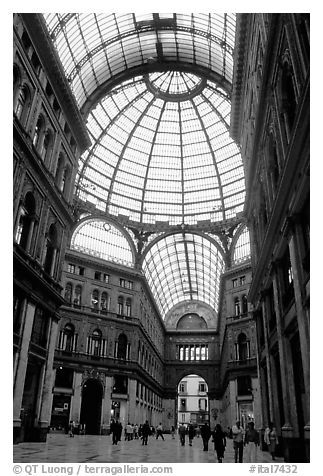 Roof and arcades of Galleria Umberto I. Naples, Campania, Italy (black and white)
