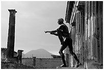 Statue of Apollon, Temple, and Mt Vesuvius. Pompeii, Campania, Italy (black and white)