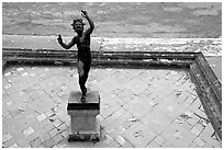 Statue in Casa del Fauno (Villa of the Faune). Pompeii, Campania, Italy ( black and white)