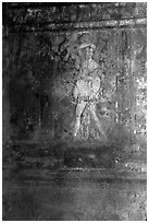 Fresco on the walls of Villa di Misteri (Villa of Mysteries). Pompeii, Campania, Italy ( black and white)