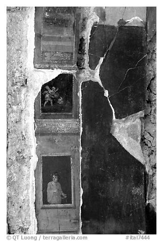 Detail on a wall of Villa Vettii. Pompeii, Campania, Italy (black and white)