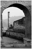 Archway and column. Pompeii, Campania, Italy (black and white)