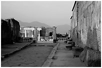 Via Marina at sunset. Pompeii, Campania, Italy (black and white)