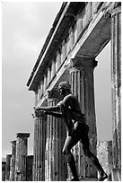 Statue and temple of Apollon. Pompeii, Campania, Italy (black and white)