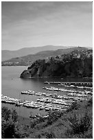 Harbor and medieval town seen from above, Agropoli. Campania, Italy (black and white)