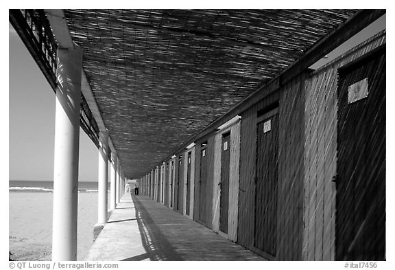 Changing rooms and beach, Paestum. Campania, Italy (black and white)