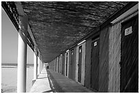 Changing rooms and beach, Paestum. Campania, Italy ( black and white)