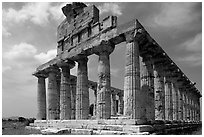 Ruins of Tempio di Cerere (Temple of Ceres), a Greek Doric temple. Campania, Italy (black and white)