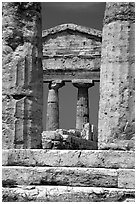 Ruins of Tempio di Cerere (Temple of Ceres). Campania, Italy (black and white)
