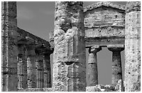 Doric-style Tempio di Cerere (Temple of Ceres). Campania, Italy (black and white)