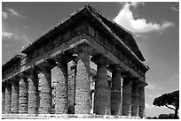 Tempio di Nettuno (Temple of Neptune), a Greek temple (5th century BC). Campania, Italy (black and white)