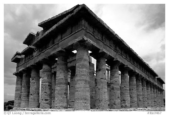 Temple of Neptune, the largest and best preserved of the three temples. Campania, Italy (black and white)