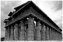 Temple of Neptune, the largest and best preserved of the three temples. Campania, Italy ( black and white)
