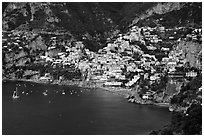 The picturesque coastal town of Positano. Amalfi Coast, Campania, Italy (black and white)