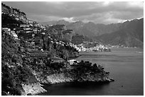 Coastline with Amalfi in the background. Amalfi Coast, Campania, Italy (black and white)