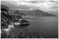 Steep coastline near Amalfi. Amalfi Coast, Campania, Italy ( black and white)