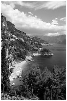 Hills plunging into the Mediterranean. Amalfi Coast, Campania, Italy ( black and white)
