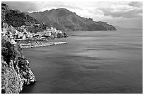 Blue waters and Amalfi. Amalfi Coast, Campania, Italy (black and white)