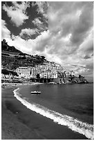 Beach in Amalfi. Amalfi Coast, Campania, Italy ( black and white)