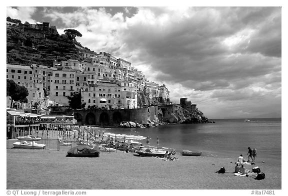 Beach and houses,  Amalfi. Amalfi Coast, Campania, Italy (black and white)