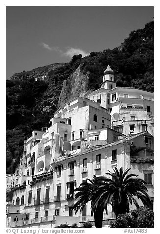Hillside houses and church, Amalfi. Amalfi Coast, Campania, Italy (black and white)