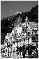 Hillside houses and church, Amalfi. Amalfi Coast, Campania, Italy ( black and white)