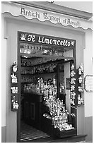 Store specializing in Lemoncelo, the local lemon-based liquor, Amalfi. Amalfi Coast, Campania, Italy (black and white)