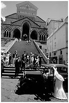 Wedding in front of Duomo Sant'Andrea, Amalfi. Amalfi Coast, Campania, Italy ( black and white)
