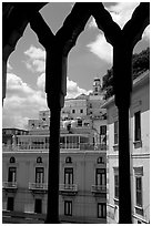 Amalfi hills seen from Duomo Sant'Andrea. Amalfi Coast, Campania, Italy ( black and white)