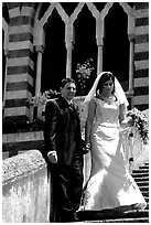Newly wed couple on the stairs of Duomo Sant'Andrea, Amalfi. Amalfi Coast, Campania, Italy (black and white)