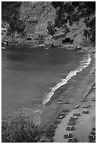 Spiaggia del Fornillo Beach seen from Via Positanesi d'America, Positano. Amalfi Coast, Campania, Italy ( black and white)