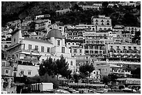 Houses built on steep slopes, Positano. Amalfi Coast, Campania, Italy (black and white)