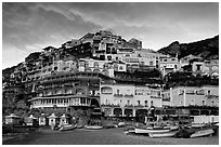 Wedding cake hill at sunset, Positano. Amalfi Coast, Campania, Italy (black and white)