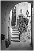 Arch and stairs, Positano. Amalfi Coast, Campania, Italy ( black and white)