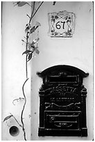 Mailbox and street number, Positano. Amalfi Coast, Campania, Italy (black and white)