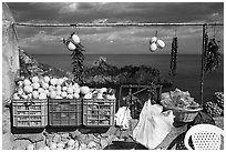 Lemons for sale. Amalfi Coast, Campania, Italy ( black and white)