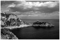 Rocky coastline. Amalfi Coast, Campania, Italy ( black and white)