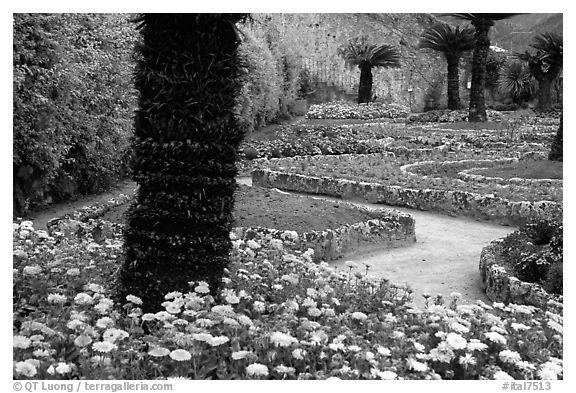 Gardens of Villa Rufulo, Ravello. Amalfi Coast, Campania, Italy (black and white)