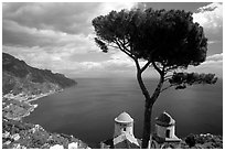 Mediterranean seen from the terraces of Villa Rufulo, Ravello. Amalfi Coast, Campania, Italy (black and white)