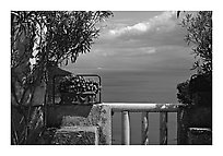 Sea seen from a terrace of Villa Rufulo, Ravello. Amalfi Coast, Campania, Italy ( black and white)