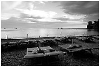 Beach chairs at sunset, Positano. Amalfi Coast, Campania, Italy ( black and white)