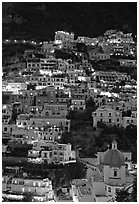 Houses on steep hill at sunset, Positano. Amalfi Coast, Campania, Italy ( black and white)