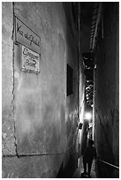 Narrow stairway at night, Positano. Amalfi Coast, Campania, Italy (black and white)