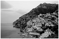 Positano at dawn. Amalfi Coast, Campania, Italy ( black and white)
