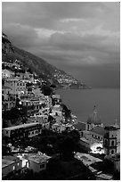 Positano and Mediterranean  at dusk. Amalfi Coast, Campania, Italy ( black and white)