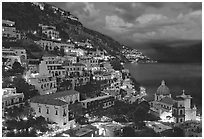 Positano and Mediterranean before nightfall. Amalfi Coast, Campania, Italy ( black and white)
